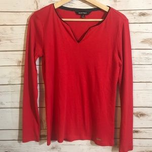 Ellen Tracy Red Long Sleeve Shirt. Size Small